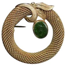 Van Dell Gold-Filled Mesh and Nephrite Brooch Pin