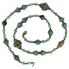 Vintage Green Bead and Rhinestone Necklace