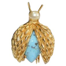 VOGUE JLRY Faux Turquoise Insect Brooch Pin
