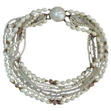 Multi Strand Faux Pearl Choker Necklace