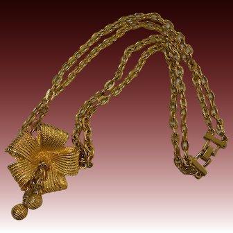 Double Strand Medallion Dangle Necklace