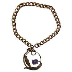 Sarah COV Faux Amethyst Charm Bracelet