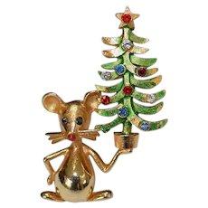 MYLU Christmas Mouse Brooch Pin