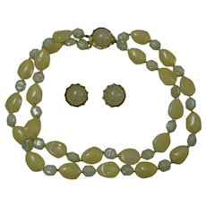 Hong Kong Faux Jade Necklace and Earring Set
