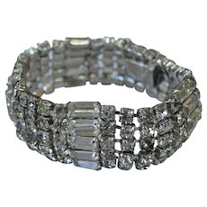 Round Rhinestone and Baguette Bracelet