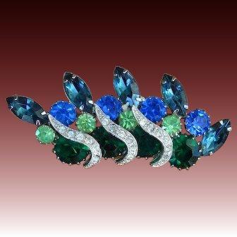 Blue Green Rhinestone Extravaganza Brooch Pin