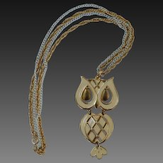 Cream Colored Owl Pendant Necklace