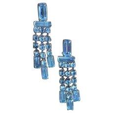 Light Blue Rhinestone Waterfall Earrings