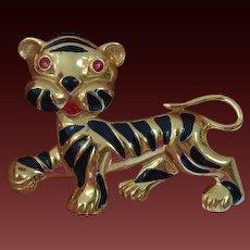MONET Playful Tiger Brooch Pin