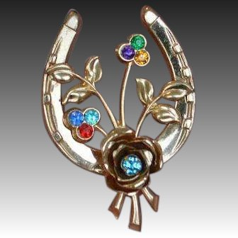 'Best of Luck' Horseshoe Brooch Pin