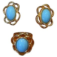 Faux Turquoise Earrings and Ring Set