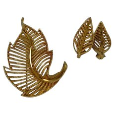 BSK Leaf Earring and Brooch Pin Set