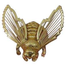 Golden Bumble Bee Brooch Pin