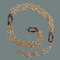 Faux Tortoise Shell and Gold Tone Link Chain Belt