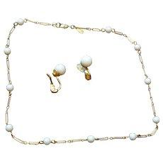 MONET White Bead Choker Necklace and Earrings Set