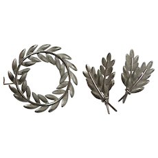 STERLING Wreath Brooch Pin and Earring Set