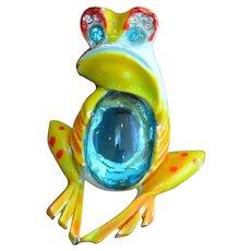 Goofy Jelly Belly ART Enamel Frog Brooch Pin