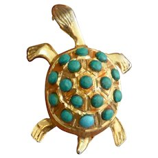 CAPRI Faux Turquoise Turtle Brooch Pin