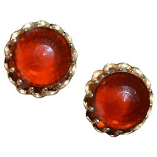 Large Faceted Vintage Earrings