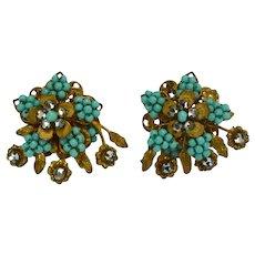 Faux Turquoise Beaded Earrings