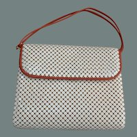Whiting and Davis Mesh Purse with Red Leather Trim