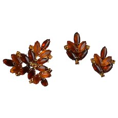 Autumn Frosted Rhinestone Brooch Pin and Earring Set