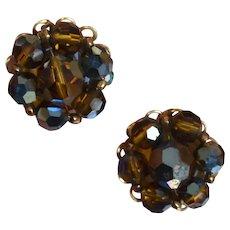 MARVELLA Smoky Brown Beaded Earrings