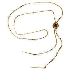 Sarah Coventry Faux Jade Slide Necklace
