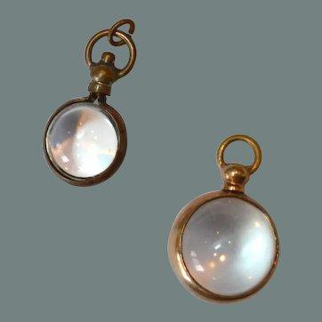 Pair of Vintage Glass Orb Pendants