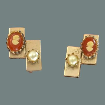 Tiny Cameo and Faux Pearl Earrings