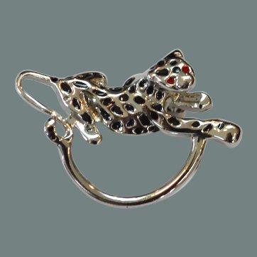 Vintage Leopard Eyeglass Brooch Pin