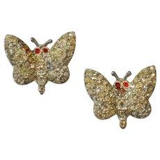 Pair Petite Butterfly Brooch Pins