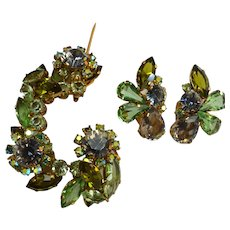 Shades of Green AUSTRIA Brooch and Earring Set
