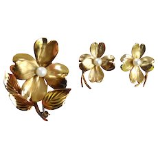 HSB Gold Filled Dogwood Bloom Brooch Pin and Earrings Set