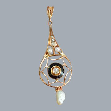 Gold, Enamel, Diamond and Pearl Lavaliere Pendant