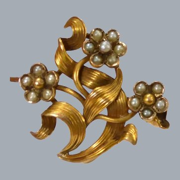 Gold Ribboned Flowerette Seed Pearl Brooch Pin