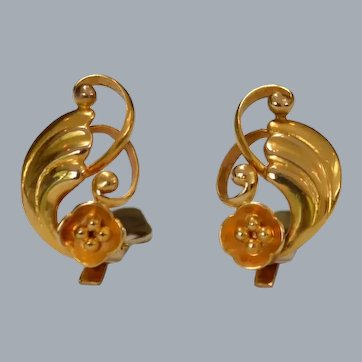 Petite Gold Art Nouveau Earrings