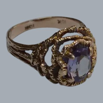 Brutalist 10 K Gold Synthetic Sapphire Ring