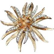 CORO FLOWER Rhinestone Brooch Pin