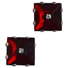 Square Red Lucite SWANK Cuff Links