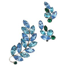 WEISSCO Blue and Green Rhinestone Brooch Pin and Earrings Set