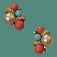 GRAZIANO Faux Coral and Turquoise Earrings