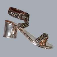 STERLING and Marcasite Petite Shoe Brooch Pin