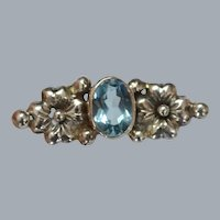 Petite Sterling and TOPAZ Flower Brooch Pin