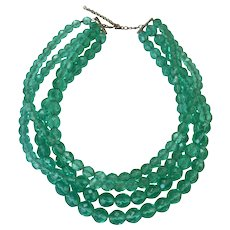 Seafoam Green Crystal Multi Strand STERLING Necklace