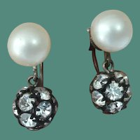 STERLING Silver Faux Pearl and Disco Ball Earrings