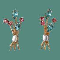 Rhinestone Flower Spray Earrings