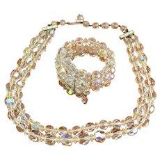 Vintage Crystal Choker Necklace and Bracelet Set