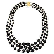 Black Bead Triple Strand Necklace Choker