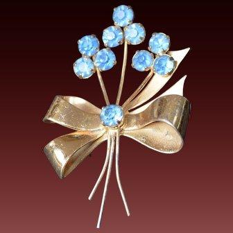 Sterling CORO Flower Brooch Pin